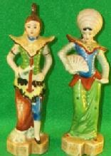 Occupied Japan Porcealin - Oriental Man & Woman Figurines