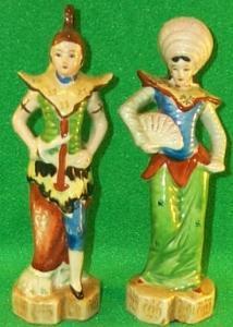 Occupied Japan Porcealin - Oriental Man & Woman Figurines