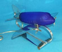Colbalt Blue Glass Airplane Desk Lamp