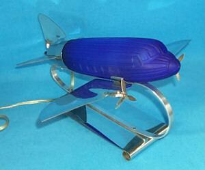 Colbalt Blue Glass Airplane Desk Lamp