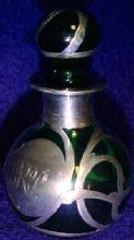 Sterling Overlay Green Glass Perfume - Glass