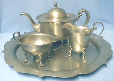 Pairpoint Pewter Tea Service - Tea Pot, Sugar Bowl, Creamer and Tray - metalware