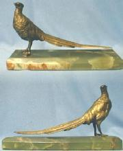 Pheasant Sculpture Bronze on Marble Antique - Misc Antique Desk Accessory