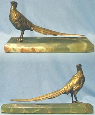 Pheasant Sculpture Bronze on Marble Antique - Misc Antique Desk Accessory