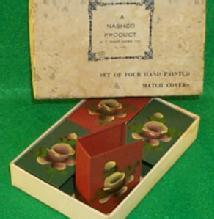 Match Covers, Miscellaneous, Collectible, Set O Four Hand Painted, in a Box.