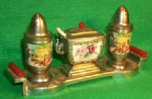 Unique Occupied Japan Porcelain Condiment Set on Metal Tray with Bakelit handle