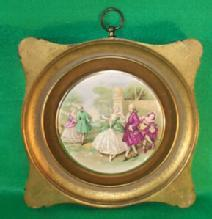 Porcelain (Victorian Scene) Hanging Plaques in Gold Finish Wood Frames