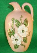White Flowered Hull Pottery  ROSELLA  Ewer