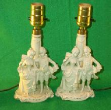 Two White Porcelain German Made Beaudoir Lamps