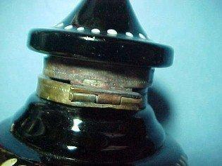 Black  Amethyst Enameled  Inkwell Ink Well - Glass