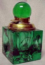 Green Cut Stevens & Williams Ink Well - Glass