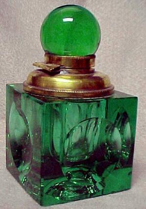 Green Cut Stevens & Williams Ink Well - Glass