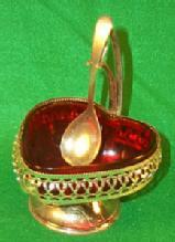 Colorful Ruby Glass Jelly Dish W/Spoon And Holder