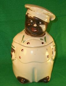 Black Memorabilia CHEF Cookie Jar  - Pottery Porcelain