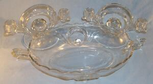 Crystal Depression Glass Console Set  Candlesticks & Bowl