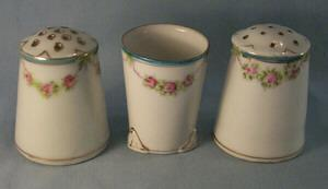 Nippon Hand Painted Porcelain Condiment Set to include -  Salt & Pepper & Toothpick Holder