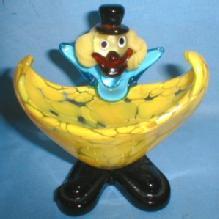 Figural CLOWN Bowl or Dish - Vintage Mottled Art Glass