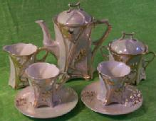 Seven Piece Porcelain Lustre Ware Tea Set