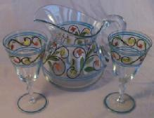 Hand Painted Clear Glass Pitcher with Two Glasses