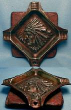 Tobacco Ashtray American Indian Pipestone & Bronzed Ashtray -