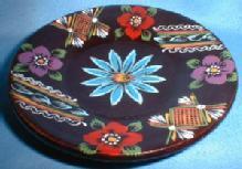 Folk Art TREEN Ware ~ Hand Painted Woodenware Dish - Folk Art Collectible