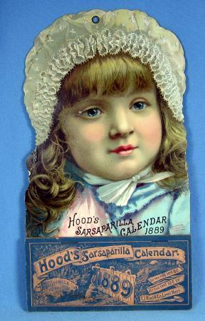 Hood's Sarsaparilla Calendar - 1889 Chromo Lithograph Paper Advertising