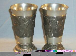 Pewter Goblets With Elk and Bavarian Couple Design - Metalware