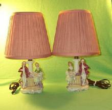A pair of Porcelain Lusterware, German Made Bedroom Lamps.
