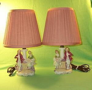 A pair of Porcelain Lusterware, German Made Bedroom Lamps.