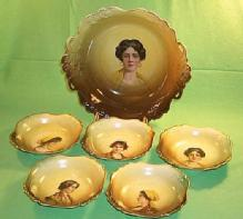 Porcelain Bavarian Cameo Berry Bowl Set