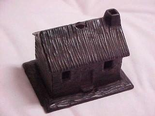 Old Cast Iron Log Cabin Bank - Toys
