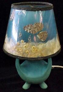 Unique Van Briggle Pottery Lamp with Original shade