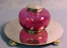 CRANBERRY Glass  Silver Inkwell INK WELL  - Glass
