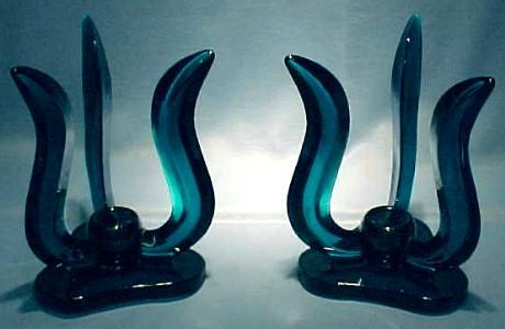 Teal Color Glass Candleholders