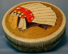 Rare Ottawa Indian Birch Bark & Quill Covered Box -