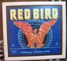 RED BIRD Antique Advertising Box Label California