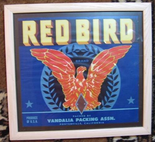 RED BIRD Antique Advertising Box Label California