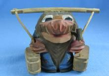 old wood Hand Carved Wooden Knome - Vintage Folk Art