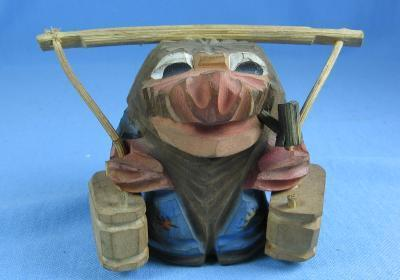 old wood Hand Carved Wooden Knome - Vintage Folk Art