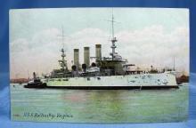 US Navy Battleship VIRGINIA Military Steamship  - Nautical Boat Misc Postcard