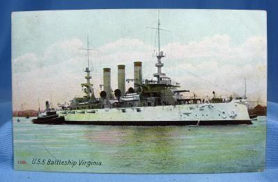 US Navy Battleship VIRGINIA Military Steamship  - Nautical Boat Misc Postcard