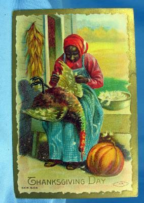 old vintage Black Americana THANKSGIVING Postcard - vintage paper
