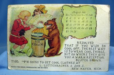 1909 Buster Brown and TIGE Postcard Scrap - Signed OUTCAULT - Advertising for Luttenbacher & Sons New Haven Michigan
