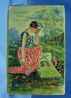 Postcard Paper  Victorian DECORATION Day Greetings Postcard - 4th of July Embossed Paper Postcard