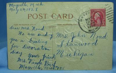 Postcard Paper  Victorian DECORATION Day Greetings Postcard - 4th of July Embossed Paper Postcard