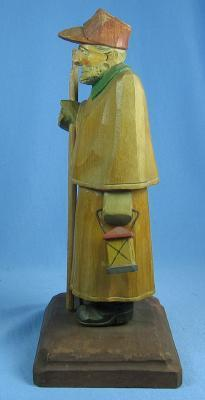 vintage  old Hand Carved SHEPARD Night Watchman  -  Wooden Folk Art Figure