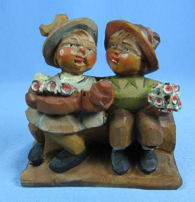 Hand Carved ANRI Boy & Girl Lovers -  Vintage Wooden Folk Art Figure