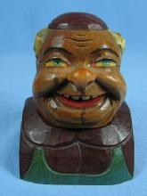Hand Carved ANRI MONK Cigarette Lighter -  Wooden Folk Art Figure ~ Tobacciana