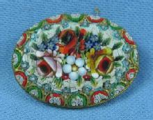 Jewelry  Mosiac Brooch - Antique Vintage Italian Jewelry