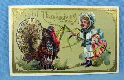 JOYFUL THANKSGIVING Turkey & Pilgrim Child Postcard - 1910 paper